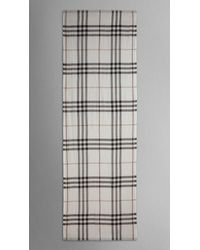 Burberry | White Lightweight Check Wool And Silk Scarf | Lyst