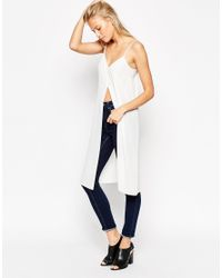 ASOS - White Longline Cami Top With Front Split - Lyst