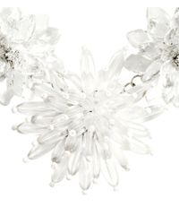 H&M - White Necklace With Flowers - Lyst
