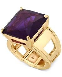 T Tahari - Gold-tone Purple Crystal Cocktail Stretch Ring - Lyst