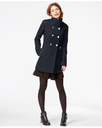 Guess | Blue Double-breasted Pleated Peacoat | Lyst