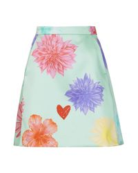 TOPSHOP - Green Limited Edition Floral Heart Aline Skirt - Lyst