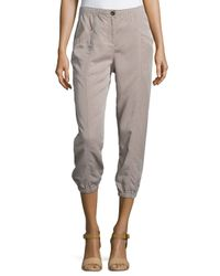 Eileen Fisher - Brown Lightweight Cropped Tapered Pants - Lyst