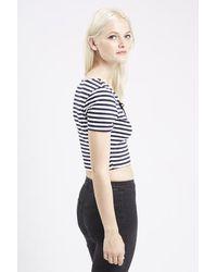 TOPSHOP | Blue Petite Tie Front Striped Top | Lyst
