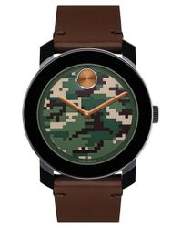 Movado | Black 'bold' Camouflage Dial Leather Strap Watch for Men | Lyst