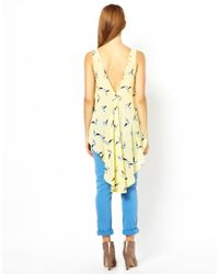 Jarlo | Yellow Shelly Bird Print Top | Lyst