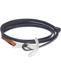 Miansai | Blue Anchor Silver Leather Wrap Bracelet, Men's, Navy/brown | Lyst