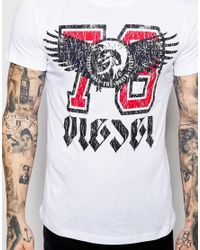 DIESEL | T-shirt Cl-t-melee Crewneck Winged 78 Logo Print In White for Men | Lyst