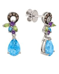 Le Vian | Blue 14kt. White Gold Multi Stone And Diamond Earrings | Lyst