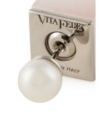Vita Fede - Metallic Square Pearl Earrings - Lyst