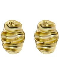 Kenneth Jay Lane | Metallic Wavy Oval Pierced Earrings | Lyst