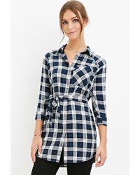 Forever 21 | Multicolor Belted Plaid Shirt Dress | Lyst