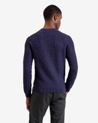 Ted Baker | Purple Textured Raglan Sleeved Jumper for Men | Lyst