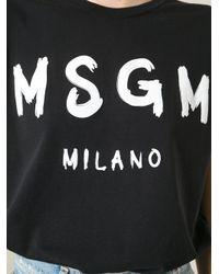 MSGM | Black Logo Print T-Shirt | Lyst