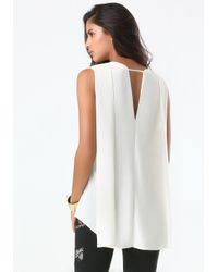 Bebe | White Cascade Pleat Top | Lyst
