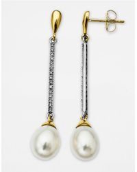 Lord & Taylor | White Diamond And Pearl Drop Earrings In Two Tone 14 Kt. Gold 7Mm X 9Mm | Lyst