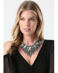 Bebe | Metallic Crystal & Fringe Necklace | Lyst