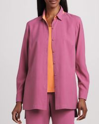 Go> By Go Silk - Purple Easy-fit Colorblock Silk Shirt - Lyst