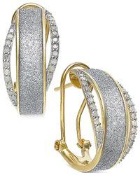 Macy's - Metallic Diamond Glitter Omega Earrings (1/3 Ct. T.w.) In 14k Gold-plated Sterling Silver - Lyst