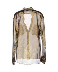 Balmain - Metallic Long Sleeve Shirt - Lyst