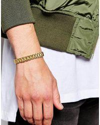 Mister - Metallic Link Bracelet - Gold for Men - Lyst