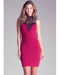Bebe - Red Crochet Lace Dress - Lyst