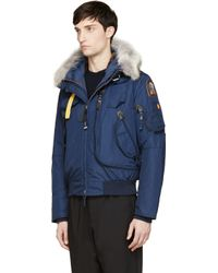 Parajumpers. Men's Blue Navy Layered Hooded Gobi Jacket
