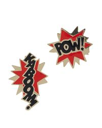 Noir Jewelry | Metallic X Dc Comics Kaboom Pow 18Kt Gold Plated Earrings | Lyst
