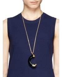 Kenneth Jay Lane | Black Faux Tusk Pendant Necklace | Lyst