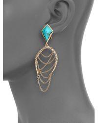 Alexis Bittar - Blue Miss Havisham Jagged Howlite Turquoise & Crystal Draped Chain Clip-On Earrings - Lyst