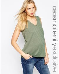 ASOS - Green Textured Top With V Neck - Lyst