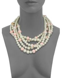 Tory Burch | Pink Evie Dipped Faux-Pearl Multi-Strand Necklace | Lyst