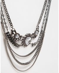 Monki - Metallic Multi Row Jewelled Necklace - Lyst