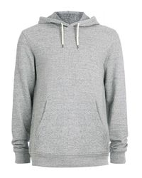 TOPMAN - Gray Grey Slub Overhead Hoodie for Men - Lyst