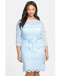 Marina - Blue Tiered Stretch Lace Sheath Dress - Lyst