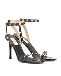 Valentino - Black Rockstud Leather Sandals - Lyst