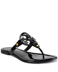 Tory Burch | Black Patent Logo Thong Sandal | Lyst