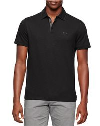 Calvin Klein | Black Cotton Polo for Men | Lyst