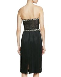 Tamara Mellon - Black Strapless Dress With Fringe Skirt - Lyst
