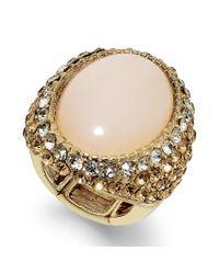 INC International Concepts - Metallic Gold-tone Oval Stone Pavé Stretch Ring - Lyst