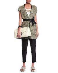 Brunello Cucinelli - White Leather Tote Bag W/contrast Trim - Lyst