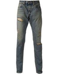 Simon Miller - Blue Distressed Slim Fit Jeans for Men - Lyst