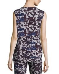 Zero + Maria Cornejo - Purple Sleeveless Floral Drape-front Top - Lyst