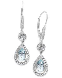 Macy's | Multicolor Aquamarine (1-3/8 Ct. T.w.) And Diamond (1/3 Ct. T.w.) Drop Earrings In 14k White Gold | Lyst