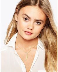 ASOS | Metallic Limited Edition Feather & Triangle Lariat Necklace | Lyst