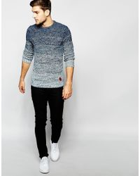 Blend | Blue Crew Sweater Slim Fit Graduated Melange Knit for Men | Lyst
