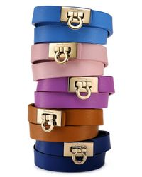 Ferragamo   Brown Gancini Double Wrap Leather Bracelet   Lyst
