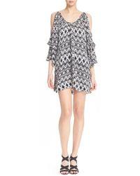 Parker | Black 'agave' Floral Print Cold Shoulder Silk Dress | Lyst