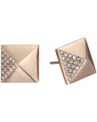 Michael Kors - Pink Pyramid Pave Stud - Lyst