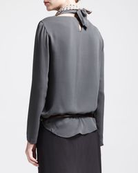 Brunello Cucinelli | Gray Longsleeve Silk Blouse with Detachable Collar | Lyst